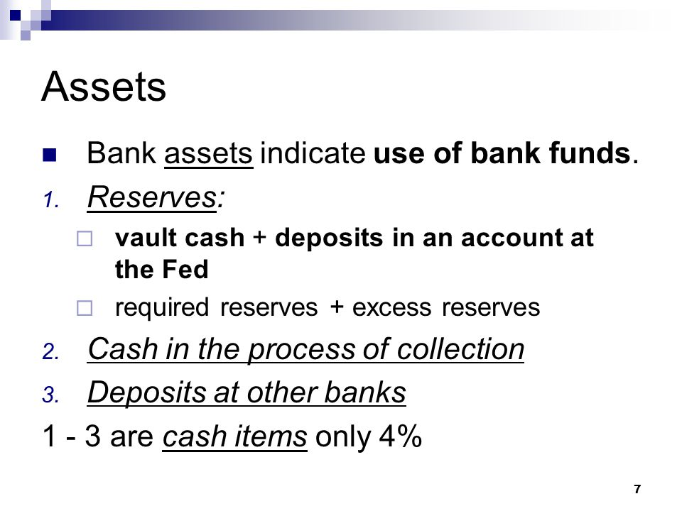 Assets Bank assets indicate use of bank funds. Reserves:
