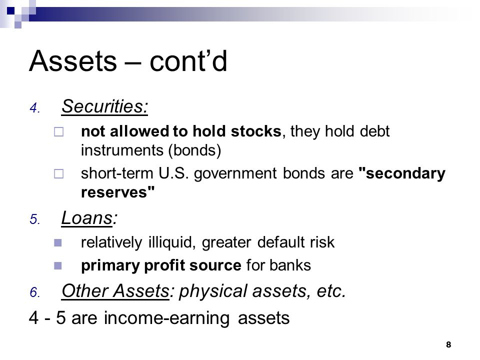 Assets – cont'd Securities: Loans: Other Assets: physical assets, etc.