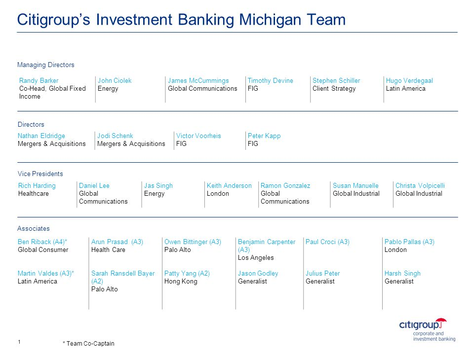 Citigroup's Investment Banking Michigan Team
