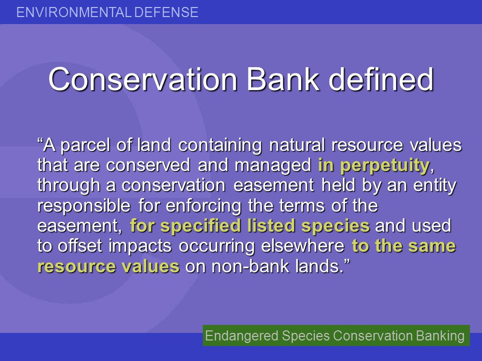 Conservation Bank defined