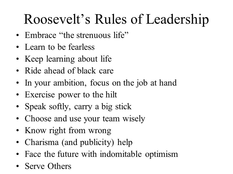 Roosevelt's Rules of Leadership