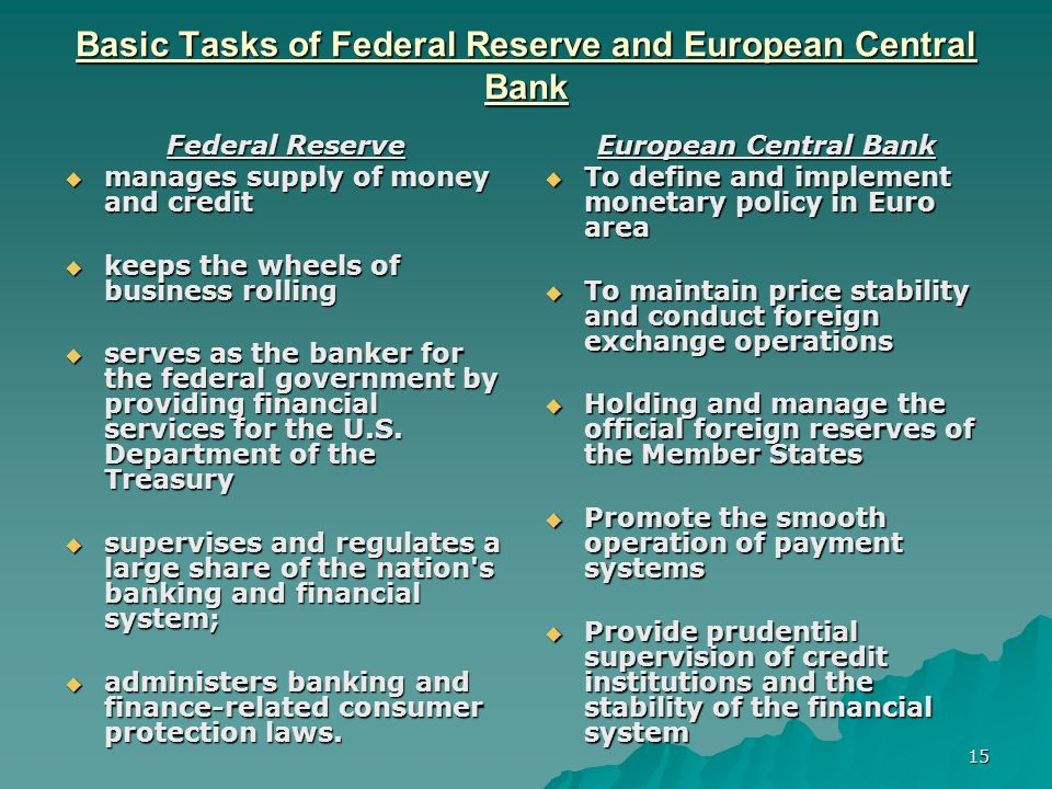 Basic Tasks of Federal Reserve and European Central Bank
