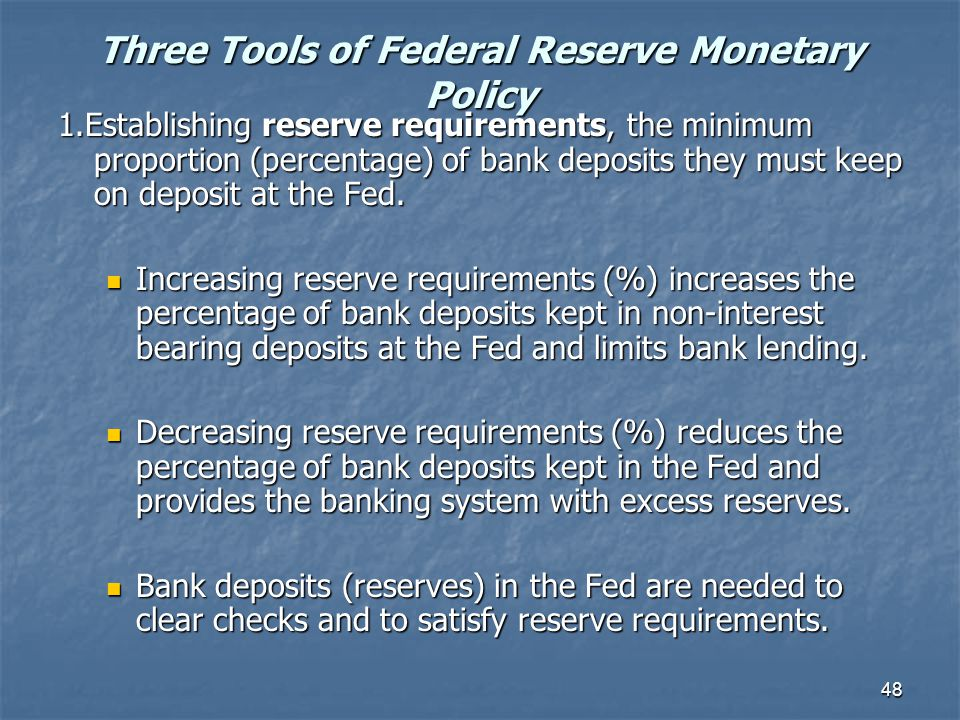 Three Tools of Federal Reserve Monetary Policy