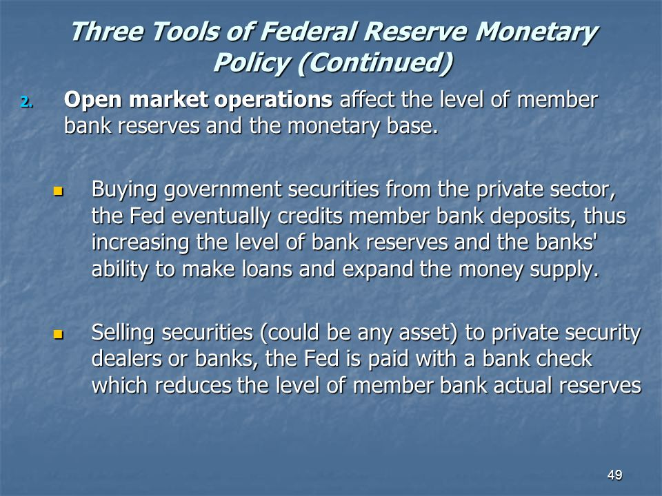 Three Tools of Federal Reserve Monetary Policy (Continued)