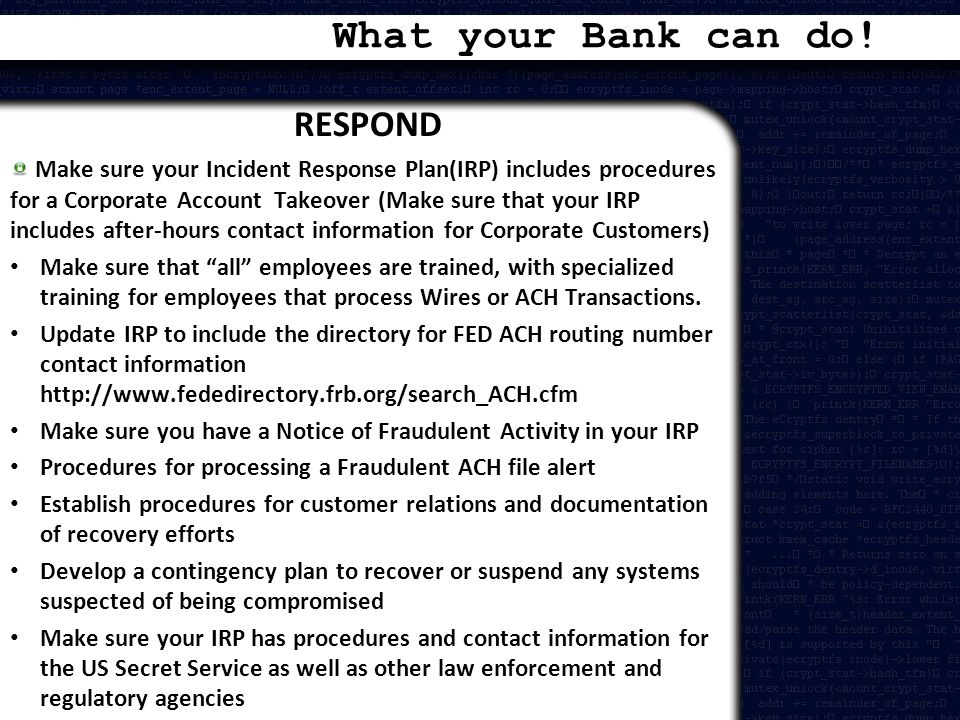 What your Bank can do! RESPOND