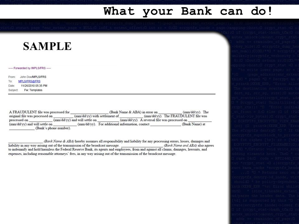 What your Bank can do! SAMPLE