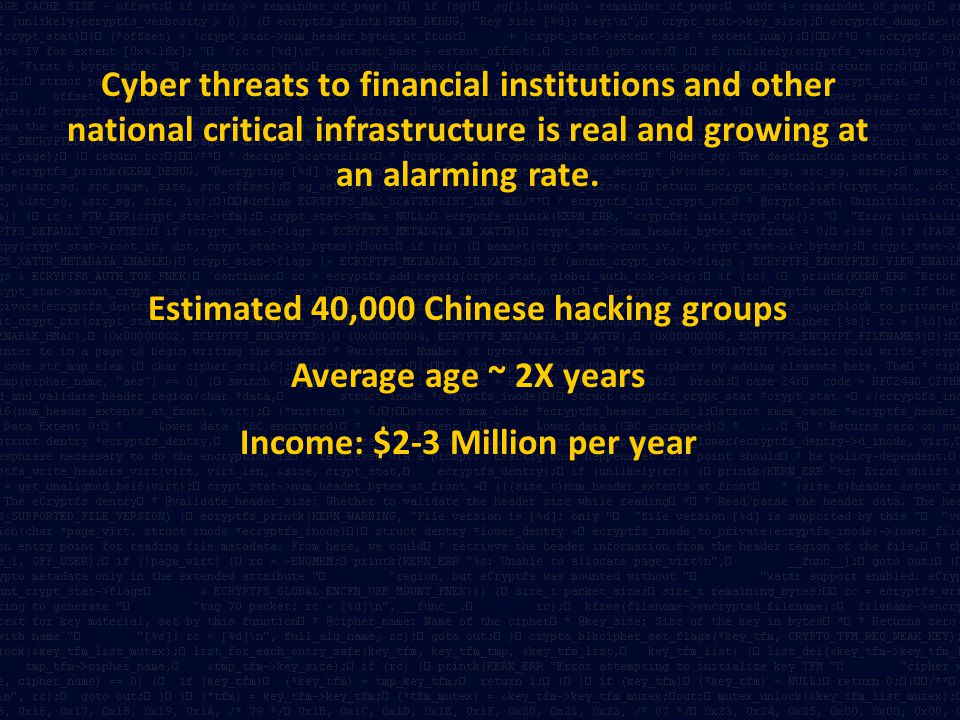 Estimated 40,000 Chinese hacking groups Income: $2-3 Million per year