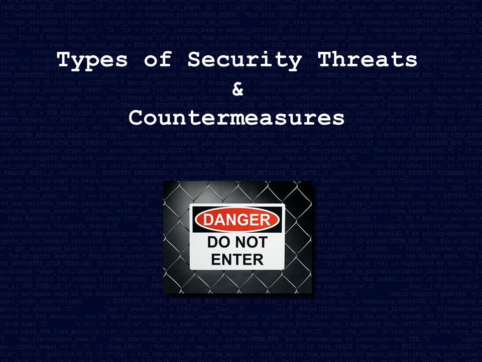 Types of Security Threats & Countermeasures