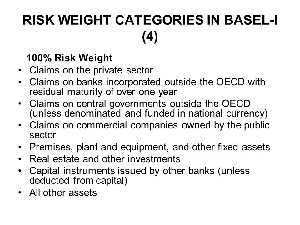 RISK WEIGHT CATEGORIES IN BASEL-I (4)
