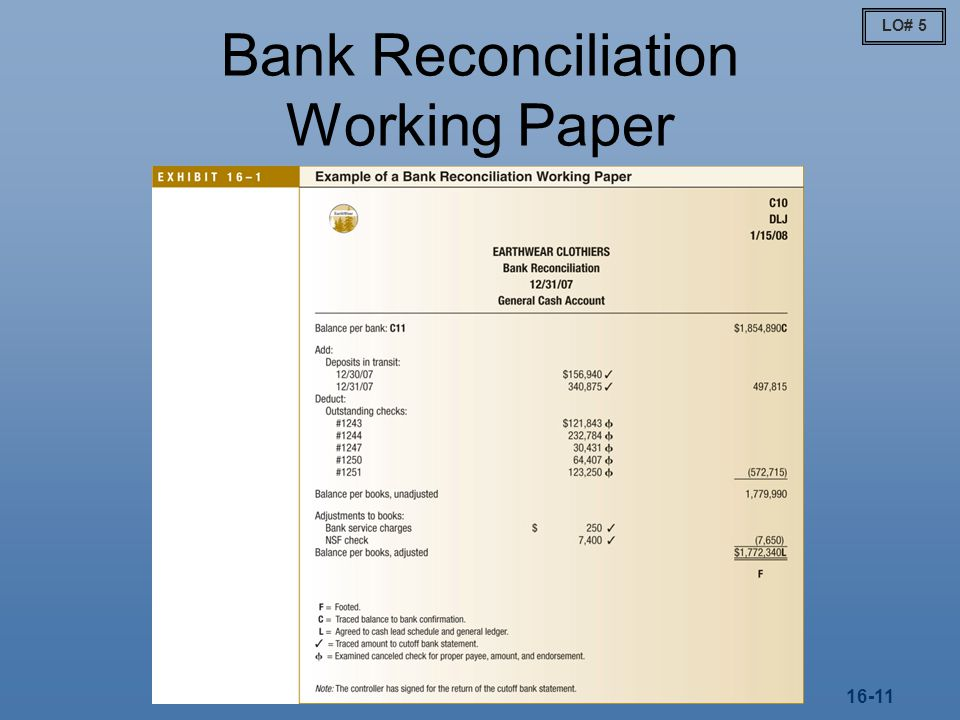 Bank Reconciliation Working Paper