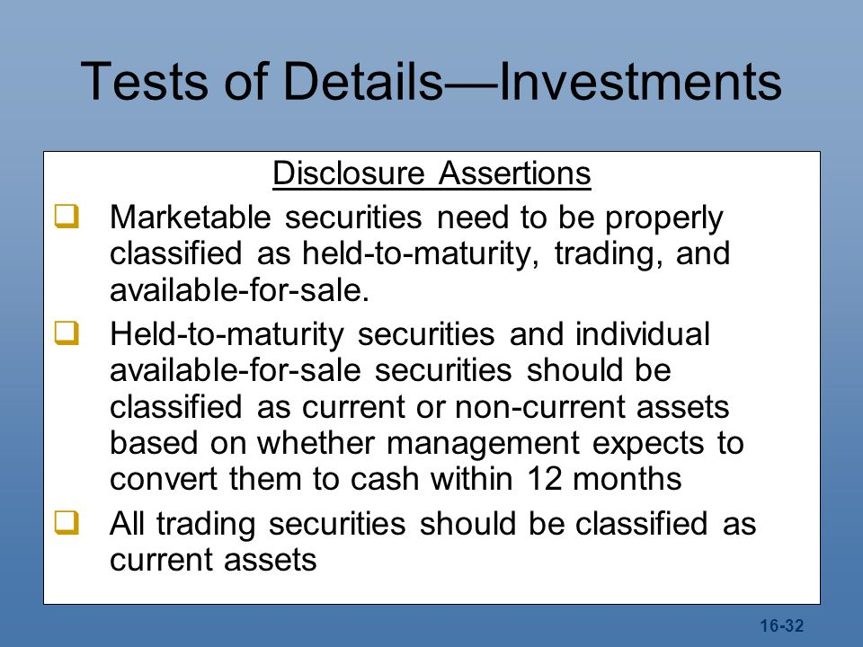 Tests of Details—Investments