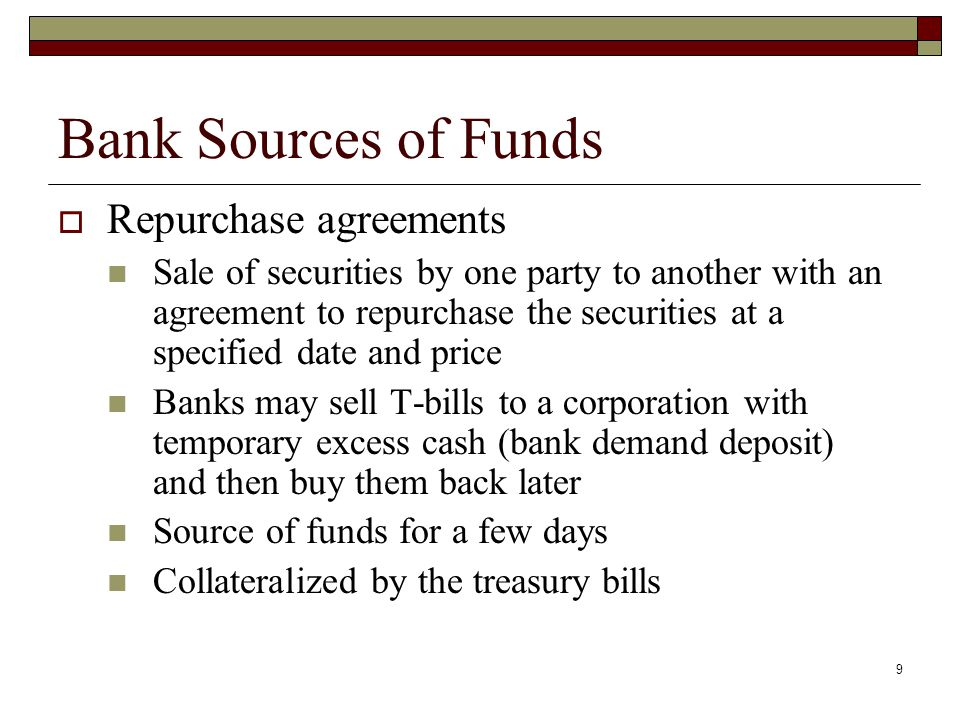 Bank Sources of Funds Repurchase agreements