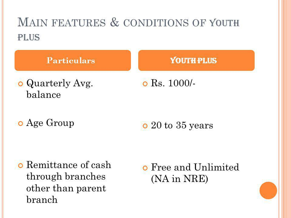 Main features & conditions of youth plus