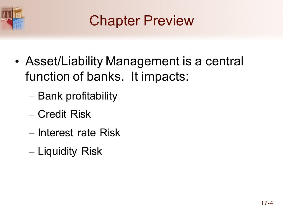 Chapter Preview Asset/Liability Management is a central function of banks. It impacts: Bank profitability.