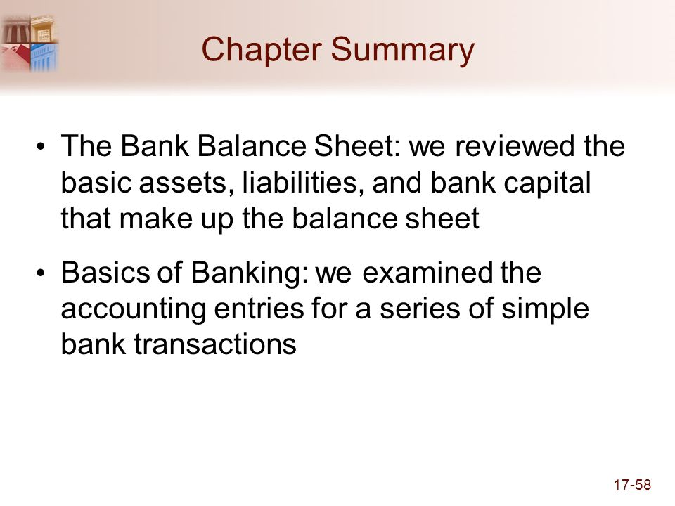 Chapter Summary The Bank Balance Sheet: we reviewed the basic assets, liabilities, and bank capital that make up the balance sheet.