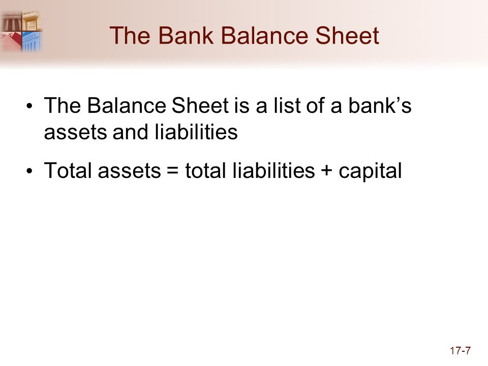The Bank Balance Sheet The Balance Sheet is a list of a bank's assets and liabilities.