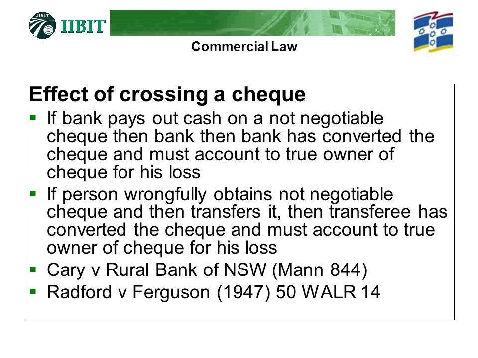 can you cash a not negotiable cheque