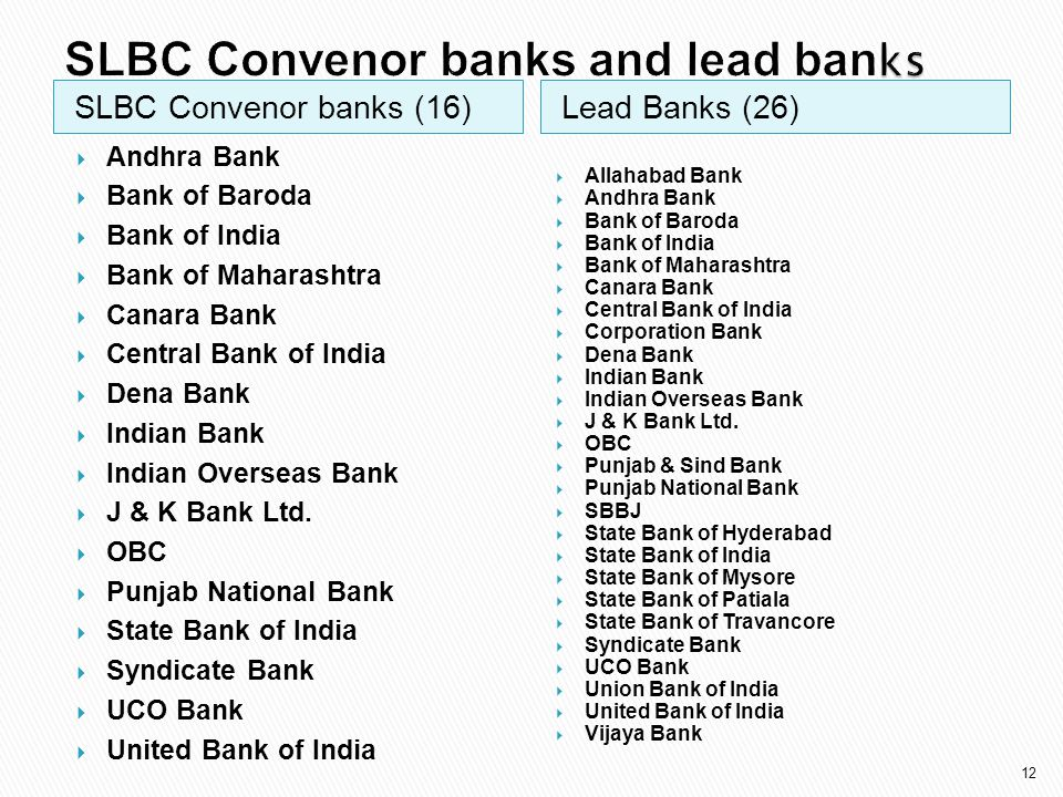 SLBC Convenor banks and lead banks