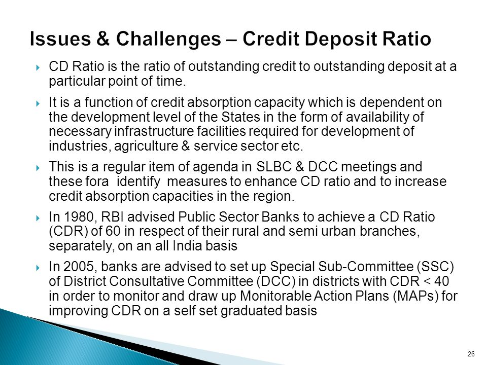 Issues & Challenges – Credit Deposit Ratio