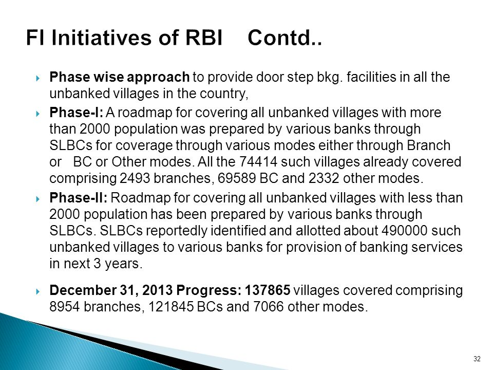 FI Initiatives of RBI Contd..