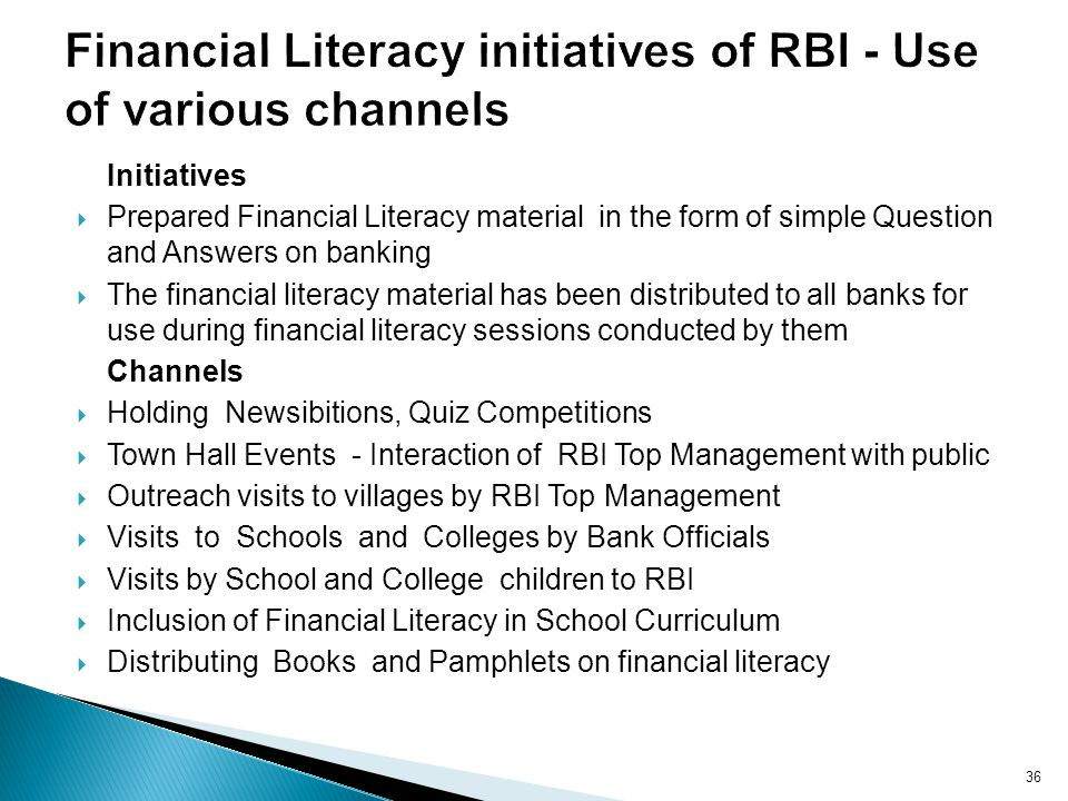 Financial Literacy initiatives of RBI - Use of various channels