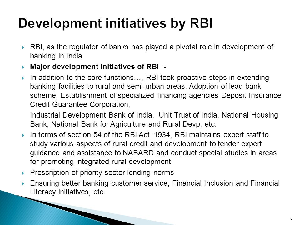 Development initiatives by RBI