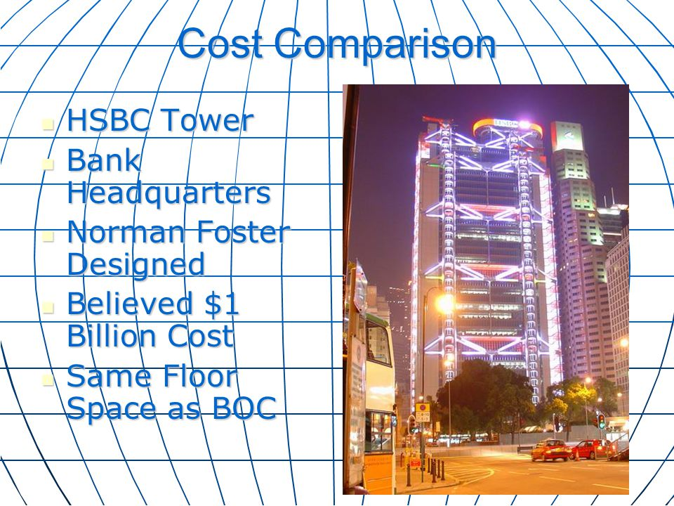 Cost Comparison HSBC Tower Bank Headquarters Norman Foster Designed