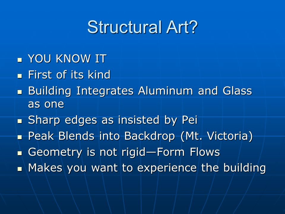Structural Art YOU KNOW IT First of its kind