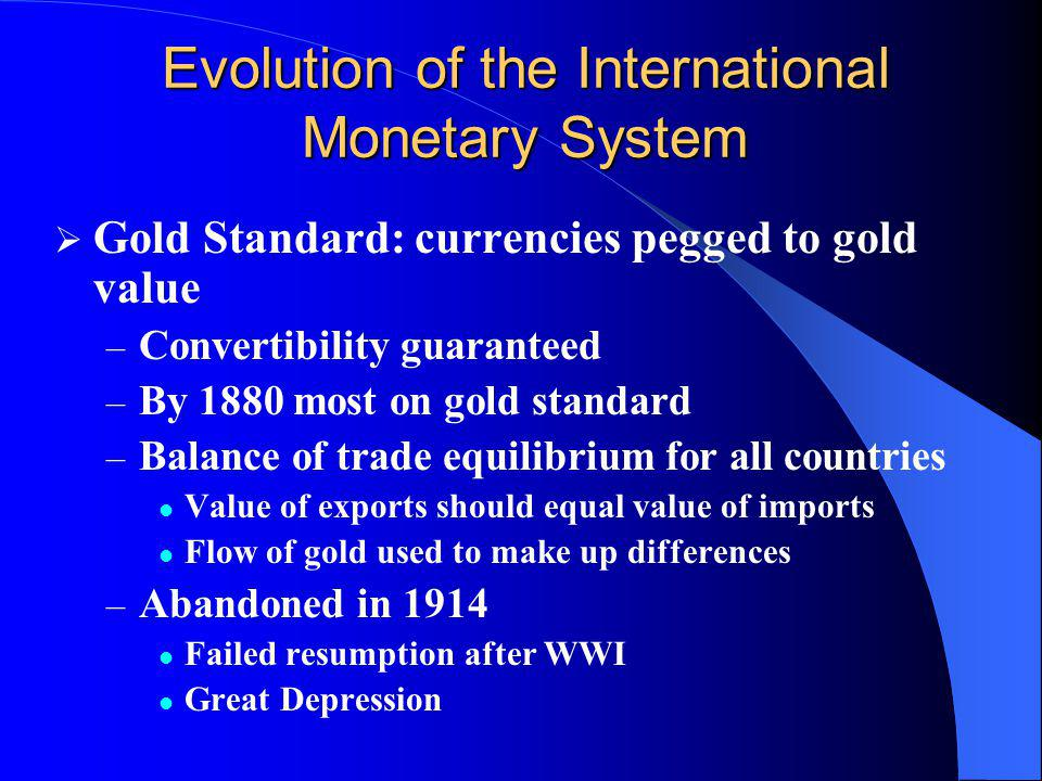 Evolution of the International Monetary System
