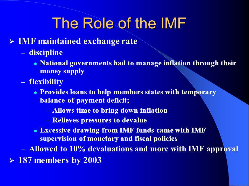 The Role of the IMF IMF maintained exchange rate 187 members by 2003