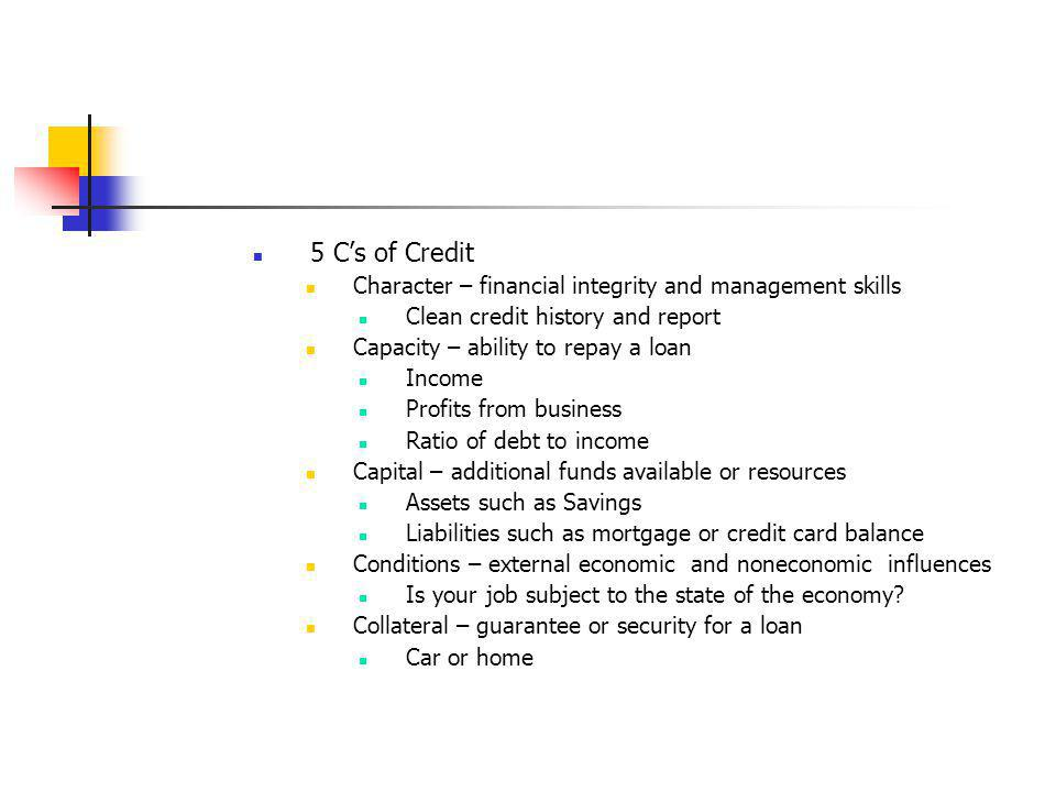5 C's of Credit Character – financial integrity and management skills