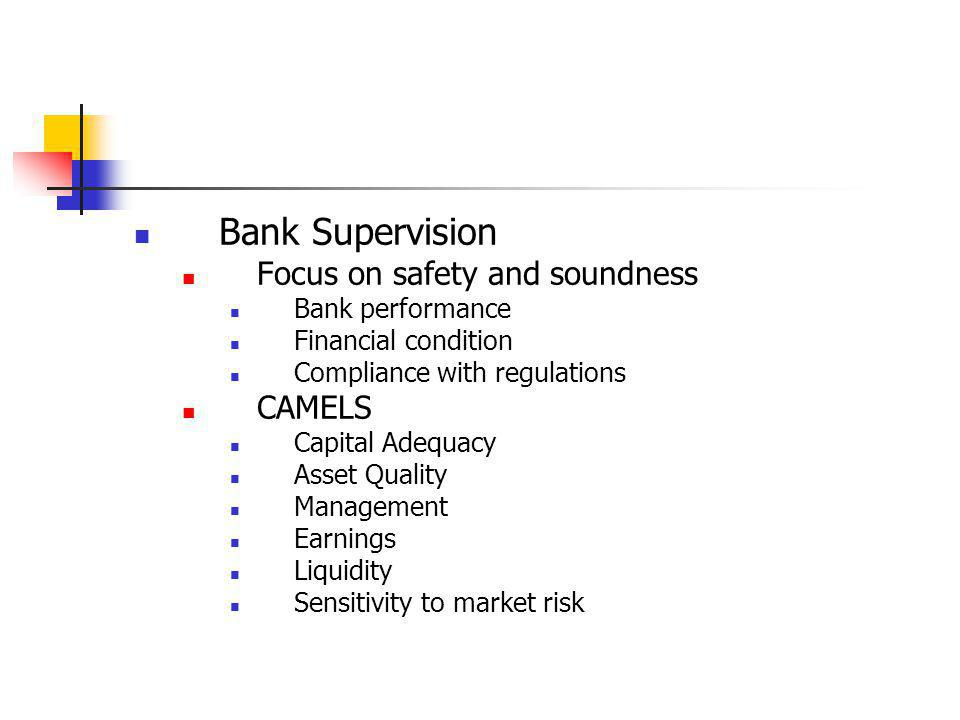 Bank Supervision Focus on safety and soundness CAMELS Bank performance
