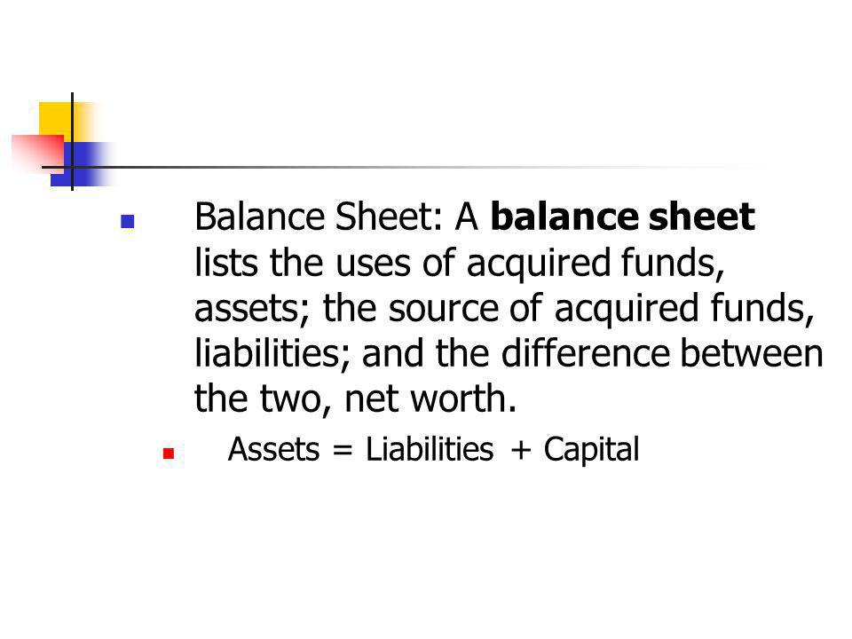 Balance Sheet: A balance sheet lists the uses of acquired funds, assets; the source of acquired funds, liabilities; and the difference between the two, net worth.