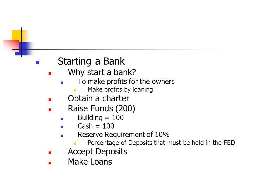 Starting a Bank Why start a bank Obtain a charter Raise Funds (200)
