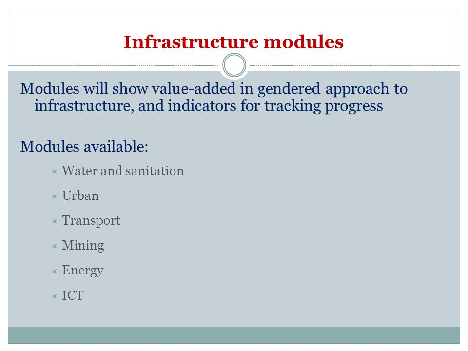 Infrastructure modules