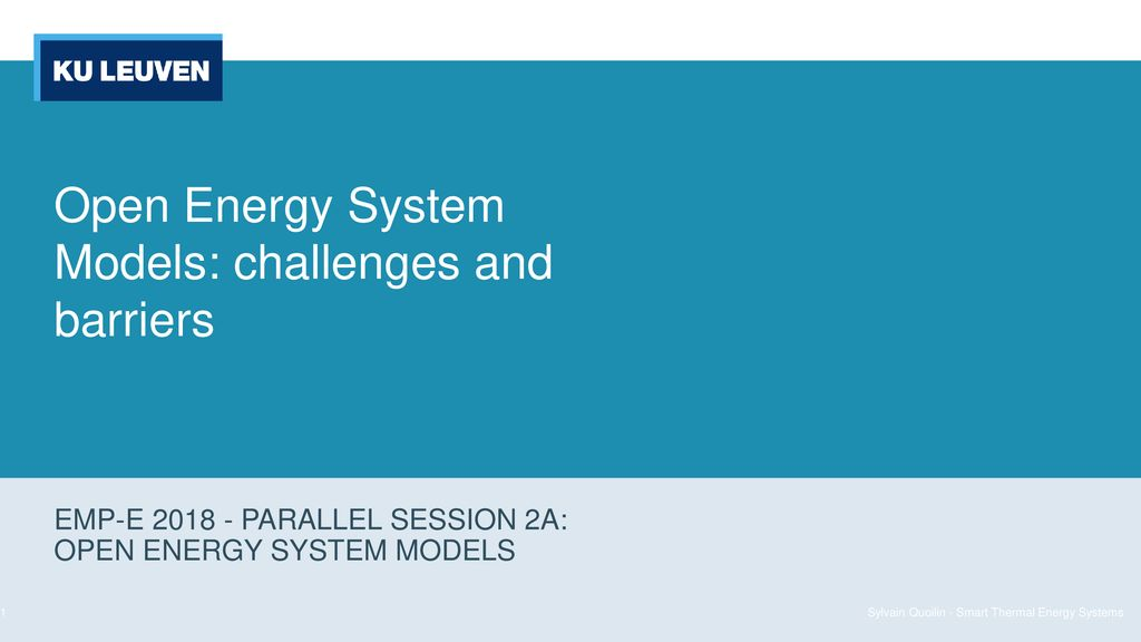 Open Energy System Models: challenges and barriers - ppt