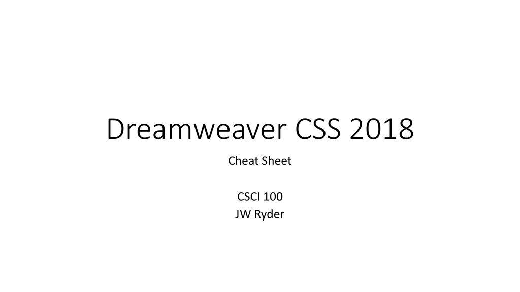 Cheat Sheet CSCI 100 JW Ryder - ppt download