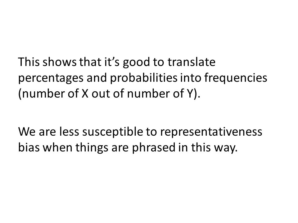 This shows that it's good to translate percentages and probabilities into frequencies (number of X out of number of Y).