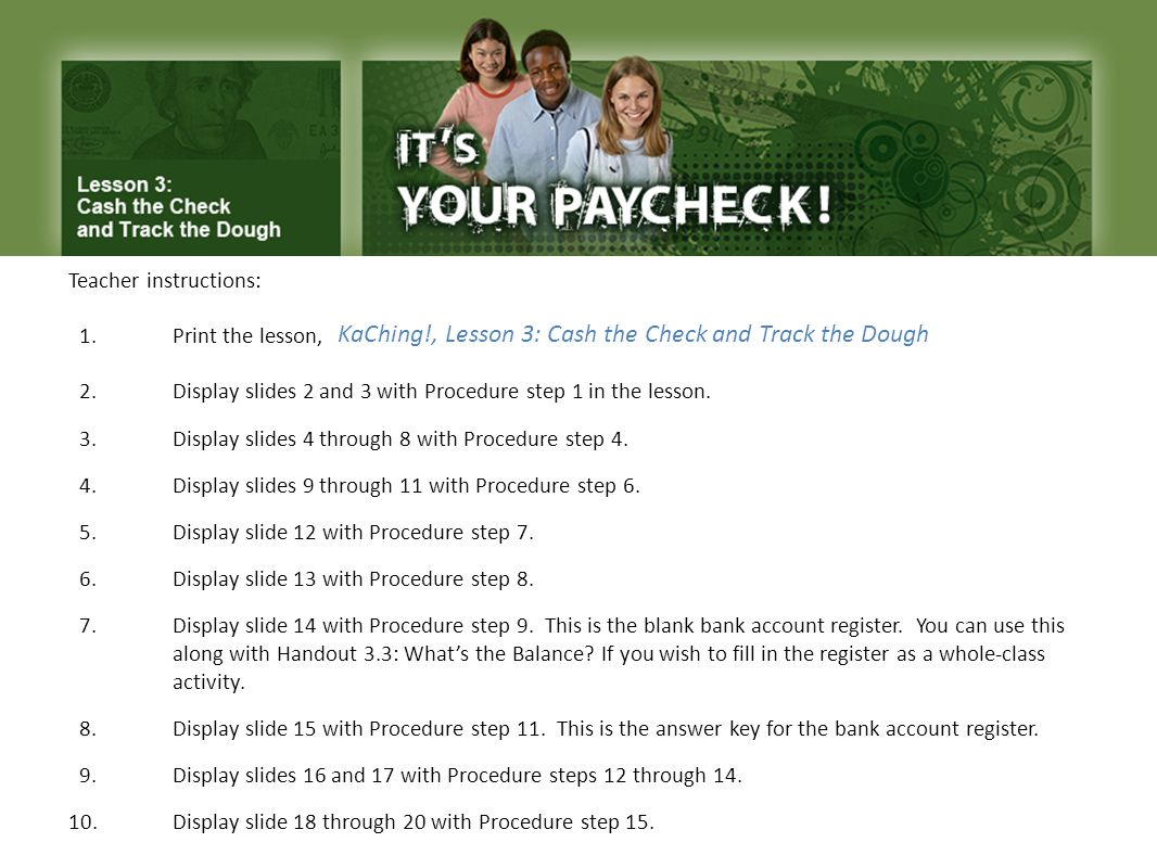 KaChing!, Lesson 3: Cash the Check and Track the Dough