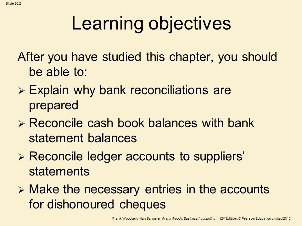 Learning objectives After you have studied this chapter, you should be able to: Explain why bank reconciliations are prepared.