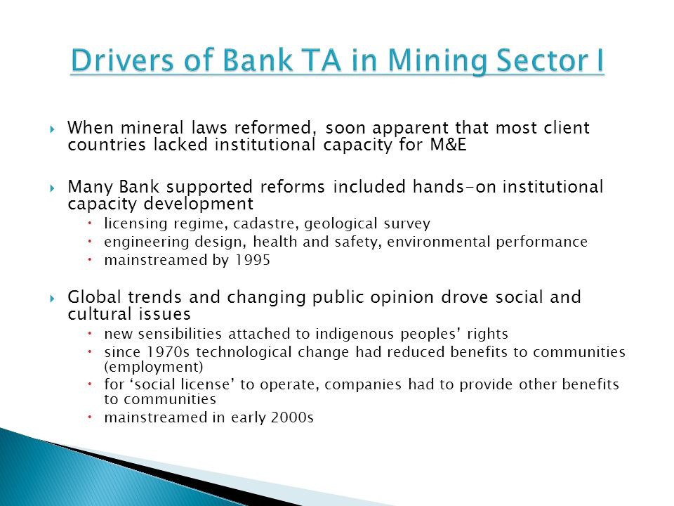 Drivers of Bank TA in Mining Sector I