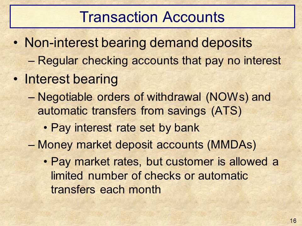 Transaction Accounts Non-interest bearing demand deposits