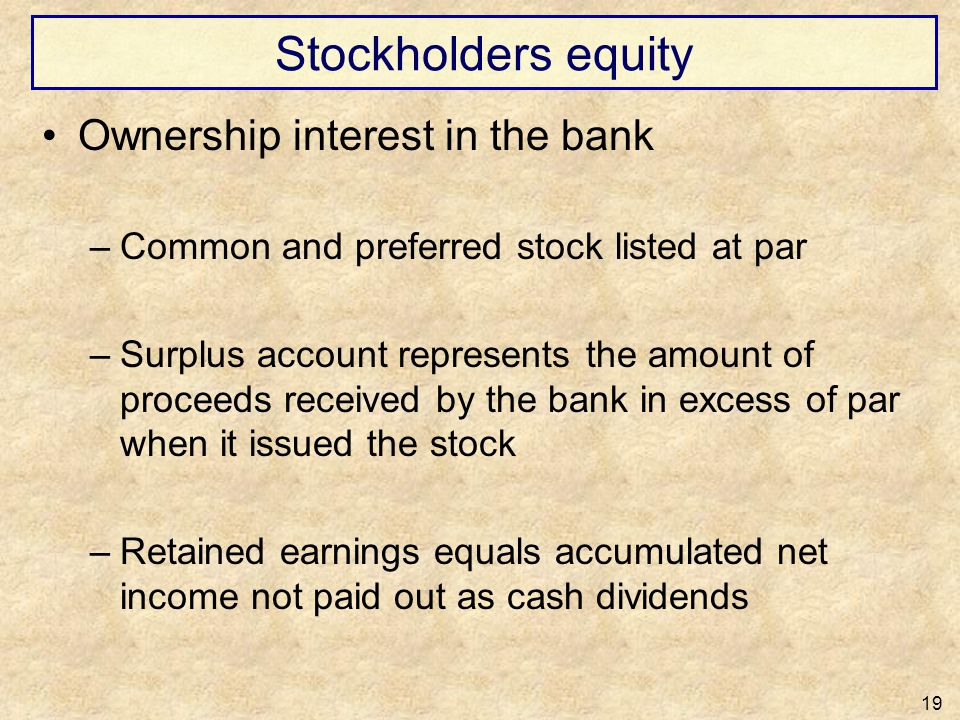 Stockholders equity Ownership interest in the bank