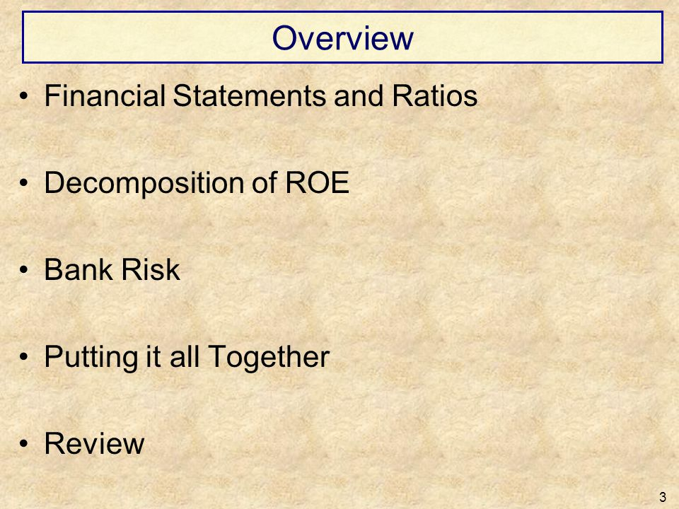 Overview Financial Statements and Ratios Decomposition of ROE