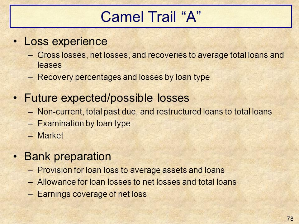 Camel Trail A Loss experience Future expected/possible losses