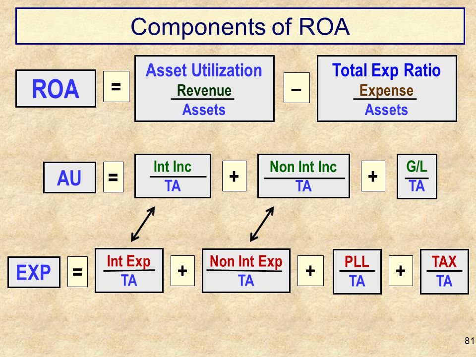 ROA Components of ROA = – AU = + + EXP = + + + Asset Utilization