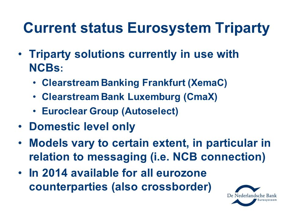Current status Eurosystem Triparty