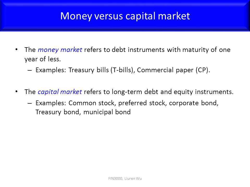 Money versus capital market