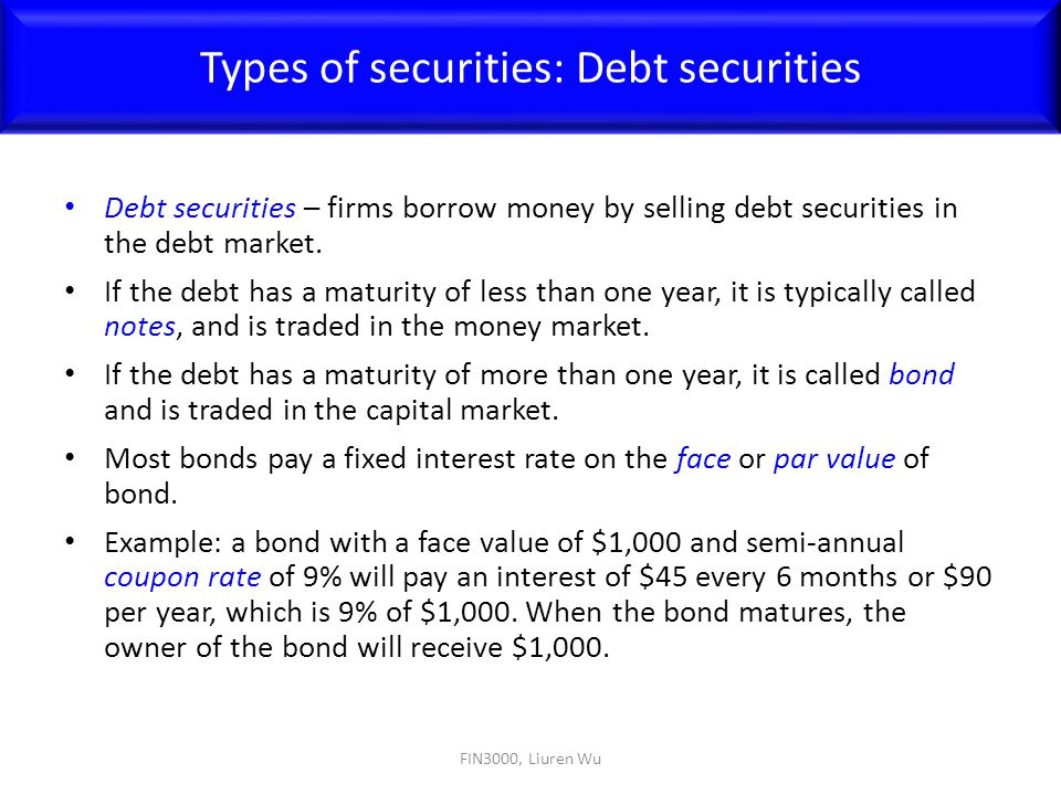 Types of securities: Debt securities