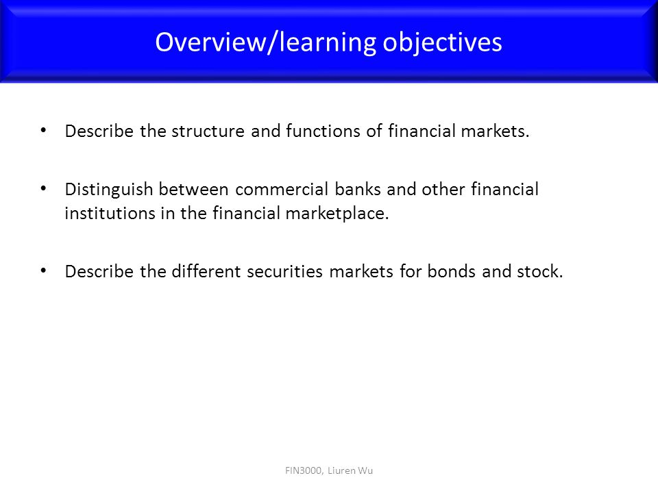 Overview/learning objectives